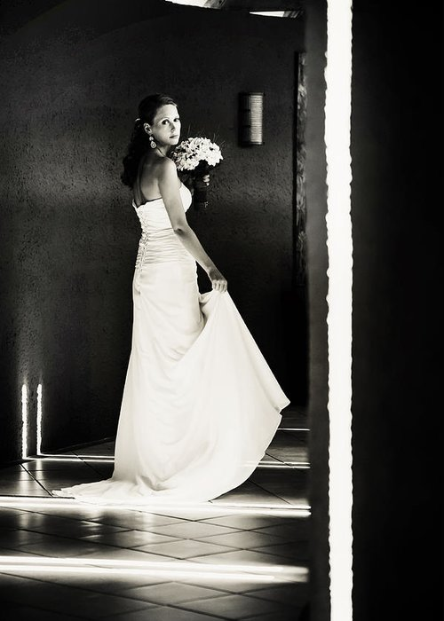 Marriage Greeting Card featuring the photograph Bride I. Black And White by Jenny Rainbow