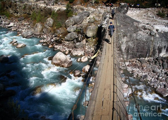 Nepal Greeting Card featuring the photograph Bridge Crossing by Tim Hester