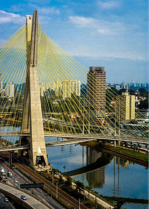 A Greeting Card featuring the photograph Bridge In Sao Paulo by Daniel Precht