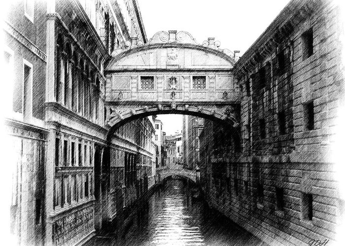 Bridge Of Sighs Greeting Card featuring the photograph Bridge Of Sighs Pencil by Jenny Hudson