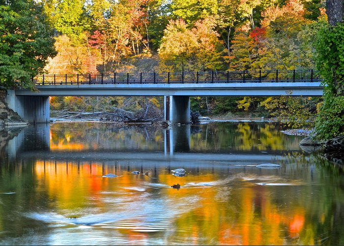 Autumn Greeting Card featuring the photograph Bridges Of Madison County by Frozen in Time Fine Art Photography