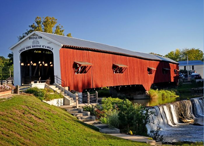 Landscape Greeting Card featuring the photograph Bridgeton Covered Bridge 3 by Marty Koch