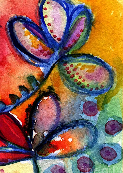 Abstract Greeting Card featuring the painting Bright Abstract Flowers by Linda Woods