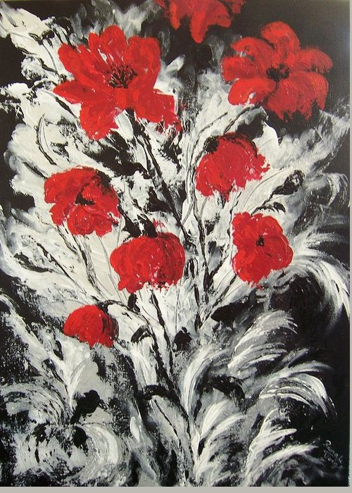 Botanical . Poppies . Red Black And Silver .abstract Greeting Card featuring the painting Bright Red Poppies by Renate Voigt