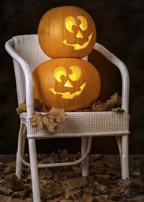 Autumn Greeting Card featuring the photograph Brightly Lit Jack O Lanterns by Amanda And Christopher Elwell
