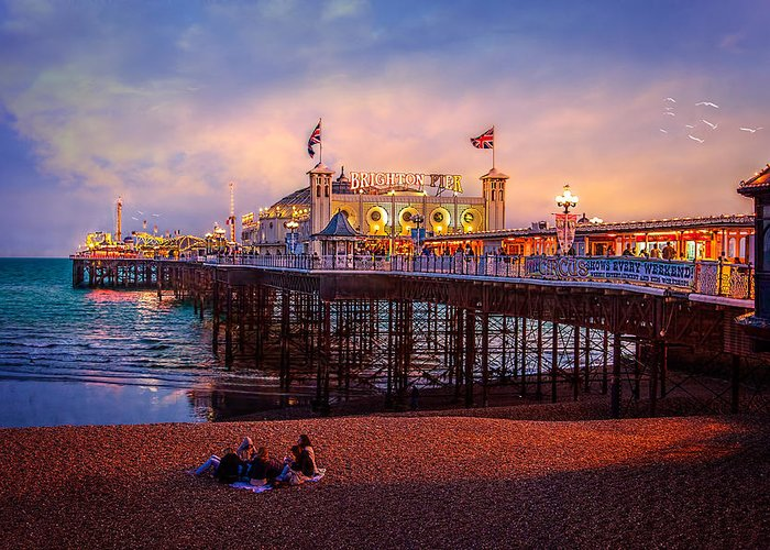 Pier Greeting Card featuring the photograph Brighton's Palace Pier At Dusk by Chris Lord