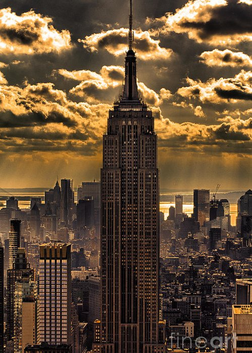 Empire State Building Greeting Card featuring the photograph Brilliant But Hazy Manhattan Day by John Farnan