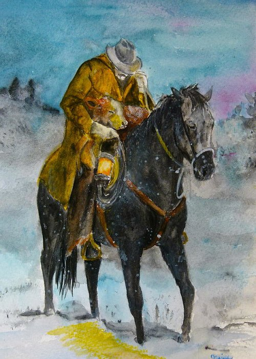 Cowboy Art Greeting Card featuring the painting Bringing You Home by Janina Suuronen