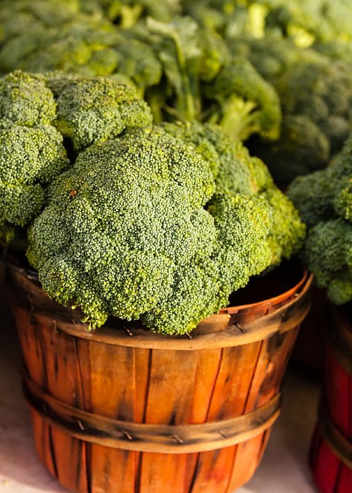 Agriculture Greeting Card featuring the photograph Broccoli In Baskets by Teri Virbickis