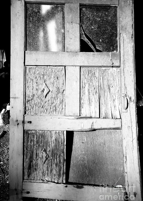 Old Greeting Card featuring the photograph Broken Door by Cheryl Young