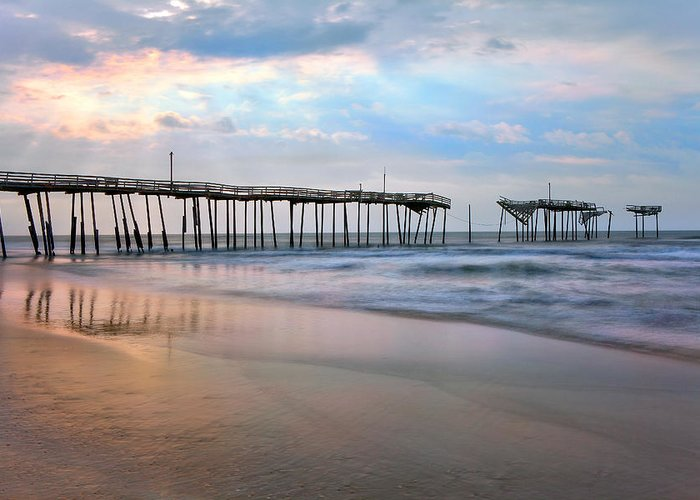 Outer Banks Greeting Card featuring the photograph Broken Dreams - Frisco Pier Outer Banks I by Dan Carmichael