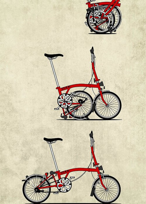 Bike Greeting Card featuring the mixed media Brompton Bicycle by Andy Scullion
