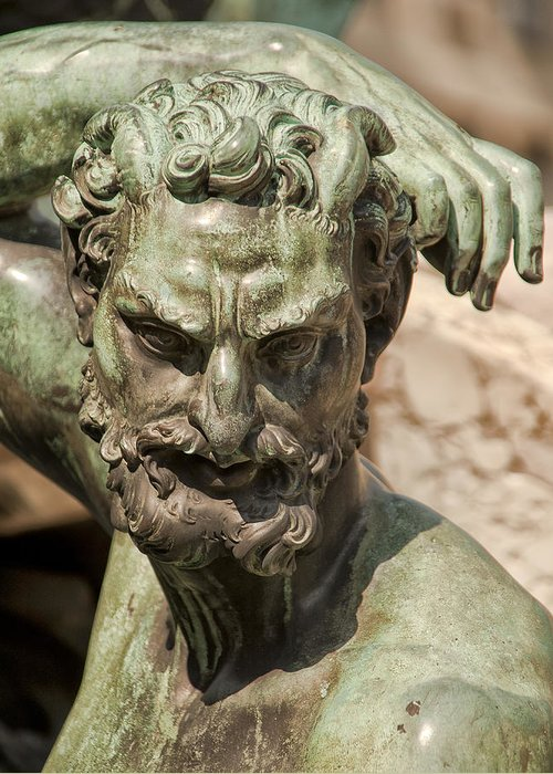 Architecture Art Greeting Card featuring the photograph Bronze Satyr In The Fountain Of Neptune Of Florence by Melany Sarafis