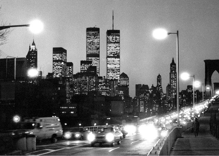 1980s Greeting Card featuring the photograph Brooklyn Bridge Traffic II Dusk 1980s by Gary Eason