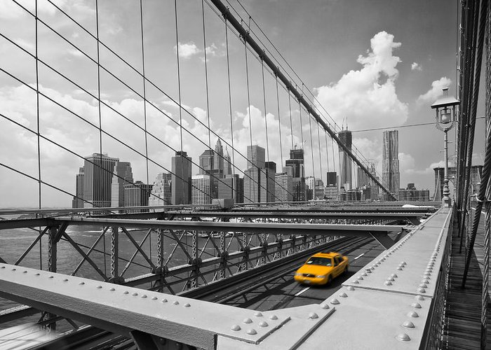 America Greeting Card featuring the photograph Brooklyn Bridge View Nyc by Melanie Viola