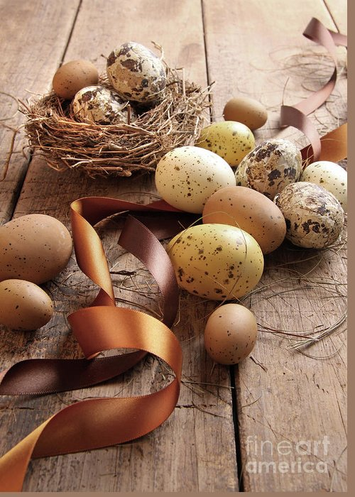 Beautiful Greeting Card featuring the photograph Brown And Yellow Eggs With Ribbons For Easter by Sandra Cunningham