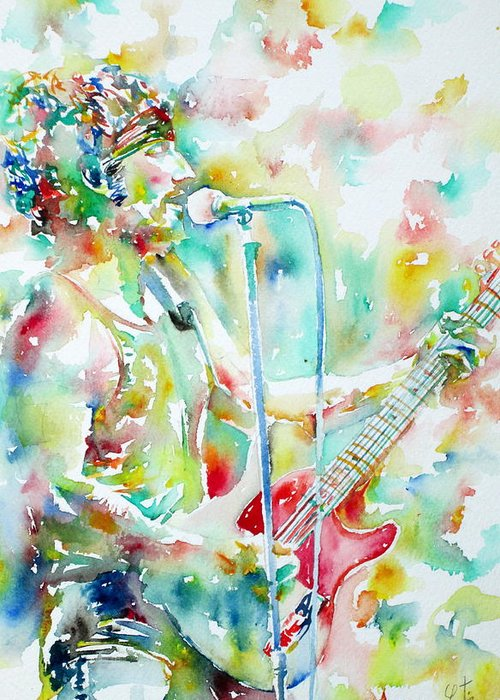 Bruce Greeting Card featuring the painting Bruce Springsteen Playing The Guitar Watercolor Portrait.1 by Fabrizio Cassetta