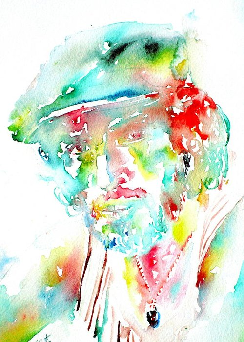 Bruce Greeting Card featuring the painting Bruce Springsteen Watercolor Portrait by Fabrizio Cassetta
