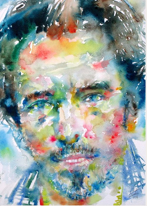 Bruce Greeting Card featuring the painting Bruce Springsteen Watercolor Portrait.1 by Fabrizio Cassetta