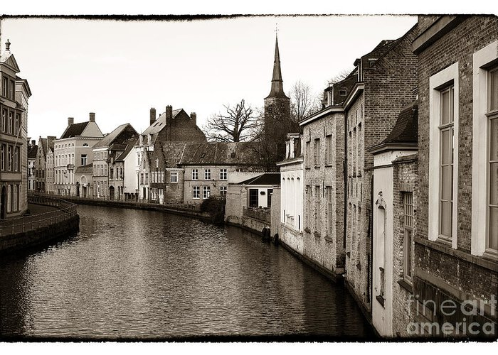 Bruges Canal Scene Greeting Card featuring the photograph Bruges Canal Scene Vii by John Rizzuto