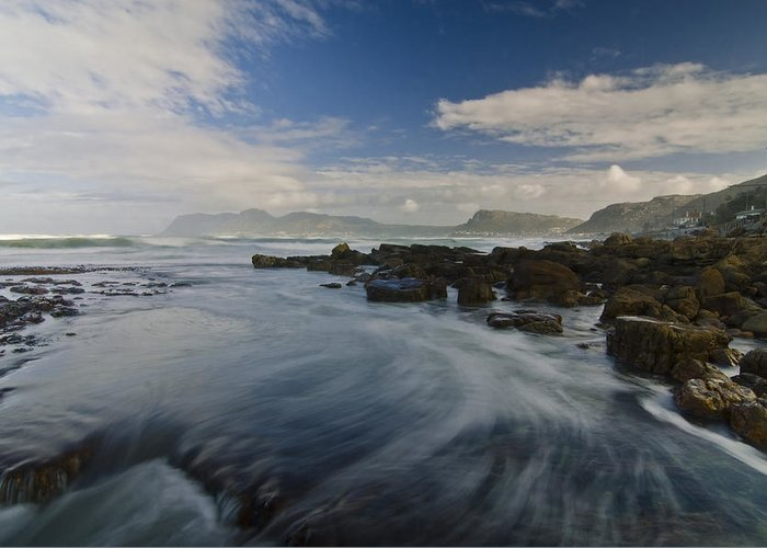 Ocean Greeting Card featuring the photograph Brushing The Blue by Aaron S Bedell