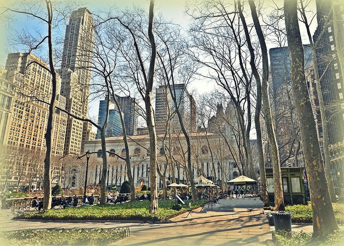 Nyc Greeting Card featuring the photograph Bryant Park Library Gardens by Tony Ambrosio