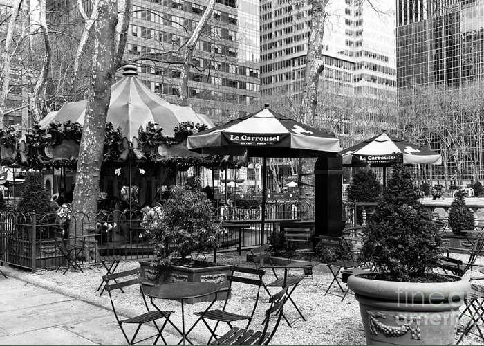 Bryant Park Table Greeting Card featuring the photograph Bryant Park Tables Mono by John Rizzuto