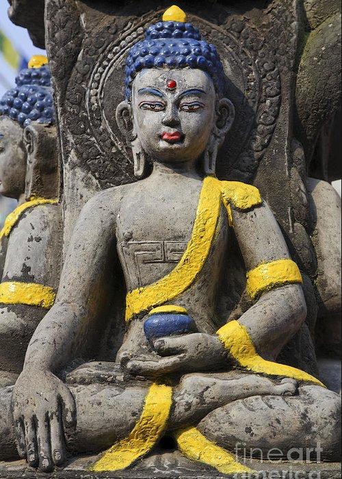 Buddha Greeting Card featuring the photograph Buddha Figure In Kathmandu Nepal by Robert Preston