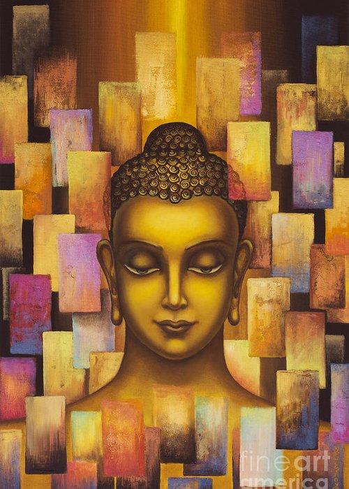 Buddha Greeting Card featuring the painting Buddha. Rainbow Body by Yuliya Glavnaya