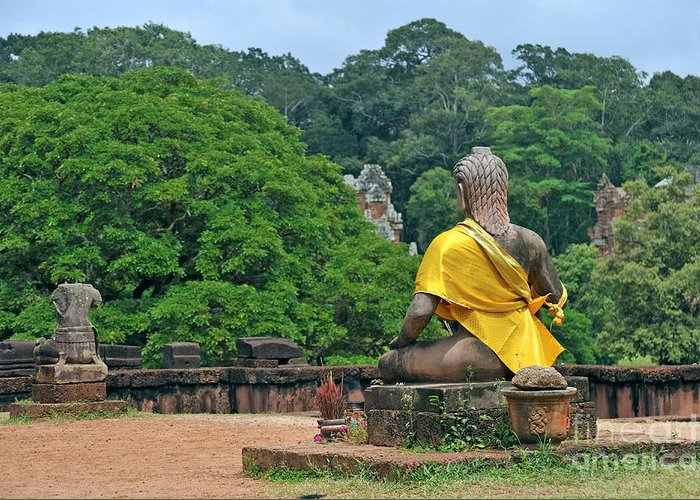 Buddha Greeting Card featuring the photograph Buddha Statue Wearing A Yellow Sash by Sami Sarkis