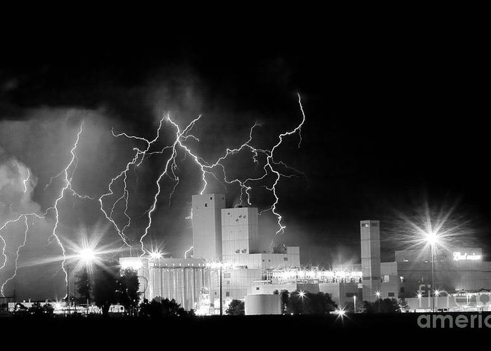 Lightning Greeting Card featuring the photograph Budweiser Lightning Thunderstorm Moving Out Bw Pano by James BO Insogna