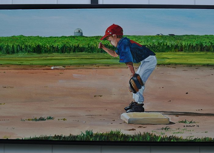 Baseball Greeting Card featuring the painting Build It And They Will Come by Bart Dunlap