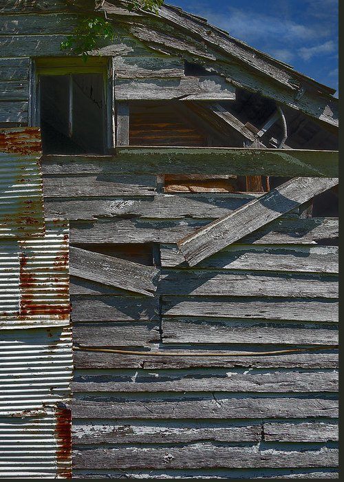 There Are Many Layers Of Material On This Old House. Greeting Card featuring the photograph Building Materials by Murray Bloom