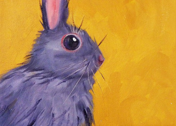Rabbit Greeting Card featuring the painting Bunny by Nancy Merkle
