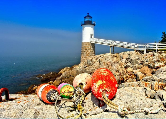 Robinson Point Lighthouse Greeting Card featuring the photograph Buoyed by Adam Jewell
