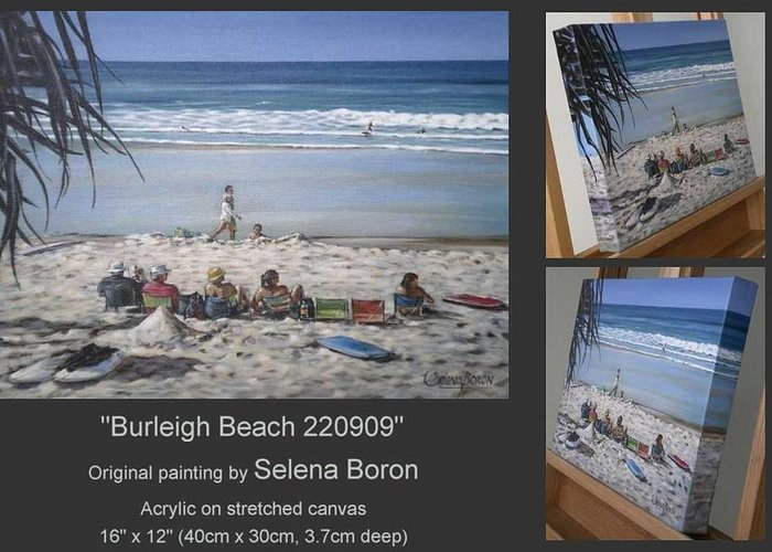 Beach Greeting Card featuring the painting Burleigh Beach 220909 by Selena Boron