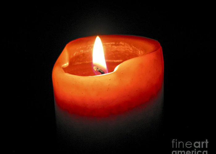 Candle Greeting Card featuring the photograph Burning Candle by Elena Elisseeva
