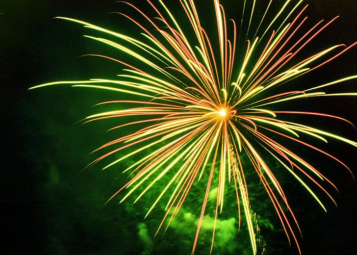 Night Greeting Card featuring the photograph 4th Of July Fireworks 6 by Howard Tenke