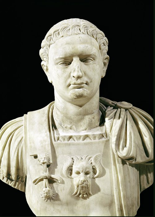 Flavius Greeting Card featuring the sculpture Bust Of Emperor Domitian by Anonymous