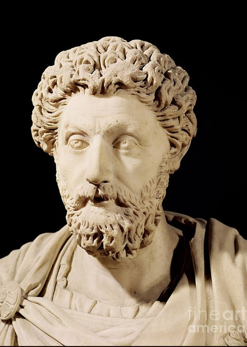 Roman Emperor Greeting Card featuring the sculpture Bust Of Marcus Aurelius by Anonymous