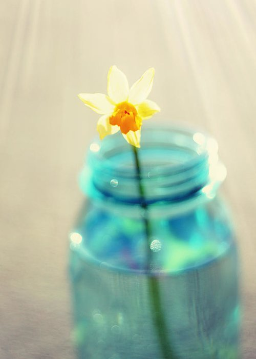 Buttercup Greeting Card featuring the photograph Buttercup Photography - Flower In A Mason Jar - Daffodil Photography - Aqua Blue Yellow Wall Art by Amy Tyler