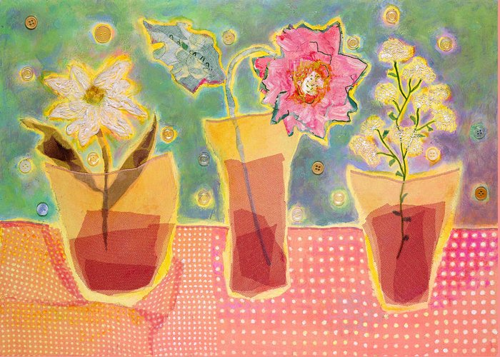 Flowers In A Glass Greeting Card featuring the mixed media Buttons by Diane Fine
