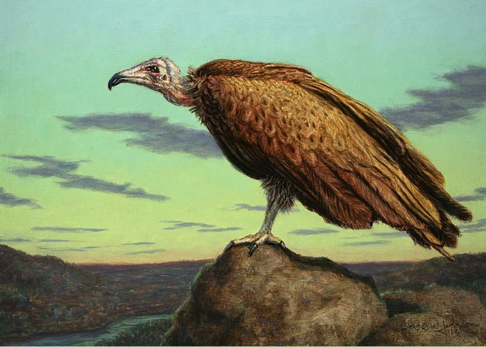 Buzzard Greeting Card featuring the painting Buzzard Rock by James W Johnson