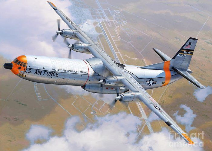 C-133 Greeting Card featuring the digital art C-133 Cargomaster Over Travis by Stu Shepherd