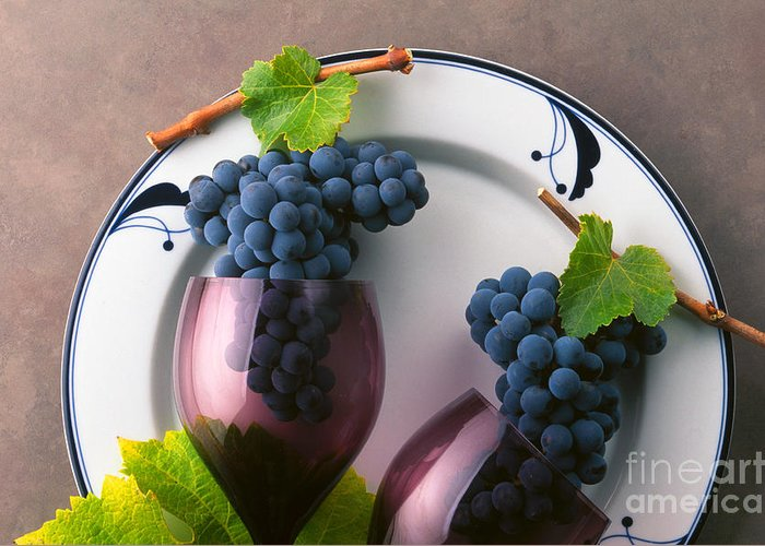 Craig Lovell Greeting Card featuring the photograph Cabernet Grapes And Wine Glasses by Craig Lovell