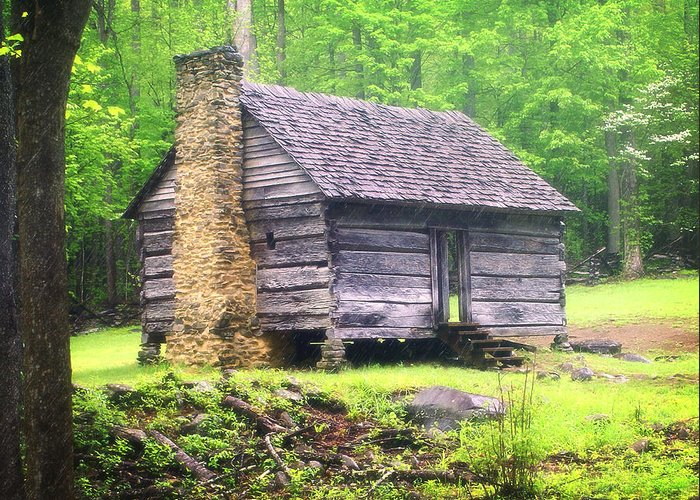 Old Cabin Greeting Card featuring the photograph Cabin In The Smokies by Marty Koch