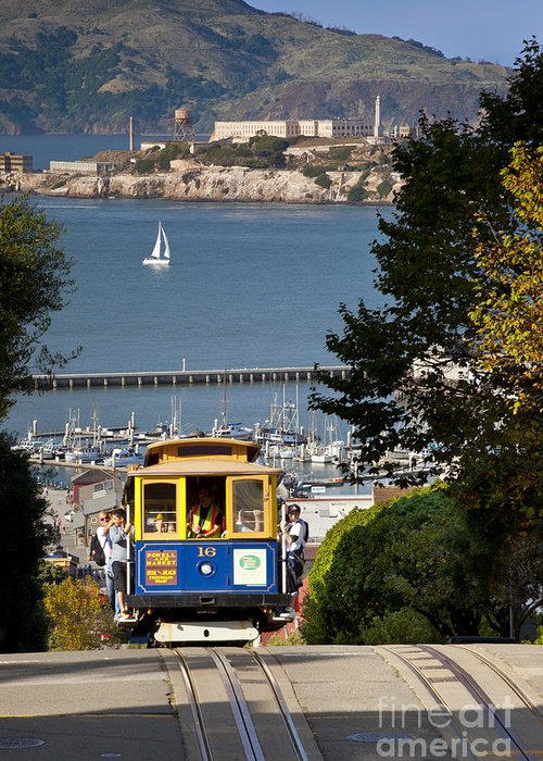 Cable Greeting Card featuring the photograph Cable Car In San Francisco by Brian Jannsen