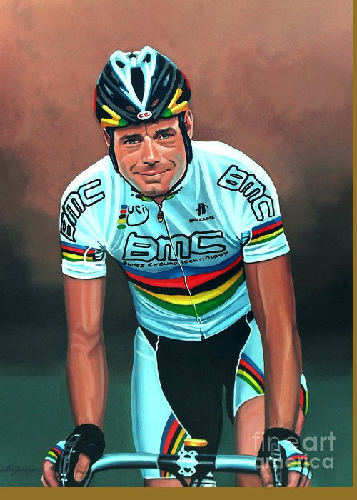 Cadel Evans Greeting Card featuring the painting Cadel Evans by Paul Meijering