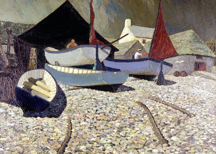 Fishing Greeting Card featuring the painting Cadgwith The Lizard by Eric Hains
