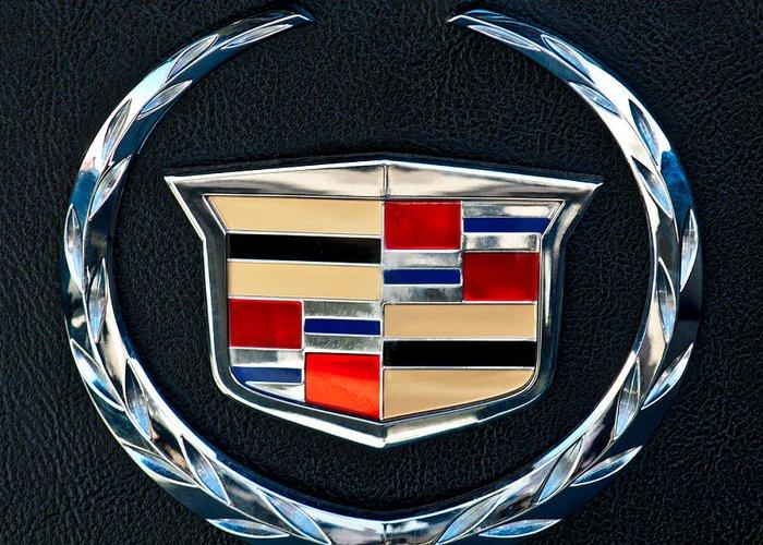 Cadillac Emblem Greeting Card featuring the photograph Cadillac Emblem by Jill Reger